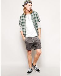 Asos Denim Shorts in Shorter Length with Acid Wash - Lyst