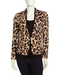 Isaac Mizrahi New York - Fauxleathertrim Knit Jacket Animalprint - Lyst