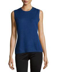 Carolina Herrera Sleeveless Jewel-Neck Shell blue - Lyst