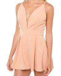 Akira Black Label - Just A Touch Romper - Nude - Lyst