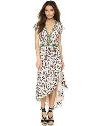Haute Hippie Deep V Embelllished Maxi Dress - Buff Multi - Lyst