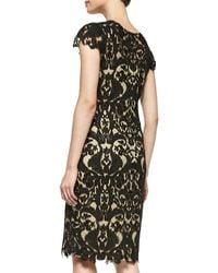 Tadashi Shoji Shortsleeve Lace Overlay Cocktail Dress - Lyst