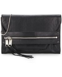 Milly Riley Large Leather Clutch - Lyst