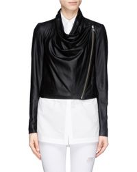 Helmut Lang Drape Front Cropped Leather Jacket - Lyst