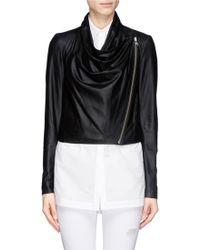 Helmut Lang Drape Front Cropped Leather Jacket black - Lyst