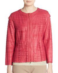 ESCADA - Leather Tiered Jacket - Lyst