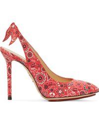 Charlotte Olympia Red Slingback Bandana Monroe Heels - Lyst