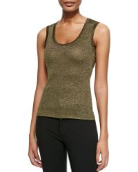 M Missoni Solid Metallic Scoop-neck Tank - Lyst