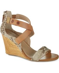 Kenneth Cole Reaction Oh Ava Snakeskin Wedges - Lyst