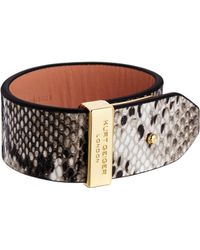 Kurt Geiger - Brown Leather  Metal Pin Bar Wraparound Bracelet - Lyst