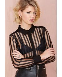 Nasty Gal Such A Mesh Button Up - Lyst