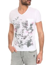 Ikks White V-Neck T-Shirt - Lyst