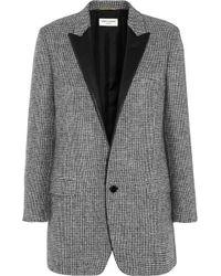 Saint Laurent Leathertrimmed Wooltweed Blazer - Lyst