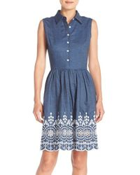 Maia - Embroidered Denim Fit & Flare Dress - Lyst