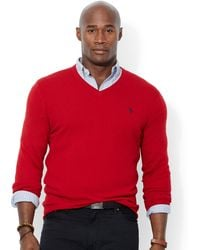 Ralph Lauren Polo Big and Tall Merino Wool V-neck Sweater - Lyst