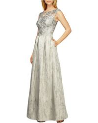 Kay Unger Lace-Bodice Pleated Gown - Lyst