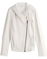 Helmut Lang Leather Biker Jacket With Jersey Panels And Hood - Lyst