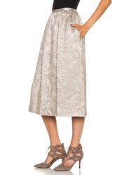 Rochas Silk Knee Length Skirt - Lyst