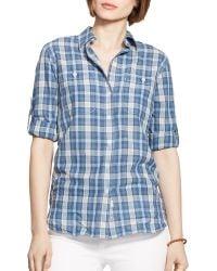Ralph Lauren Lauren Plaid Cotton Shirt - Lyst