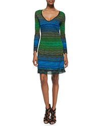 M Missoni V-Neck Degraded Ripple Knit Dress - Lyst