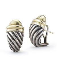 David Yurman Pre-owned 14ky  Sterling Silver Classic Cable Earrings - Lyst