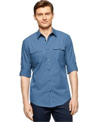 Calvin Klein Textured Slub Slim-Fit Shirt blue - Lyst