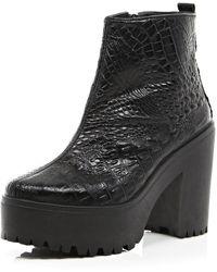 River Island Black Mock Croc Platform Ankle Boots - Lyst