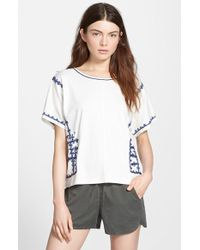 Madewell 'Kara' Embroidered Crop Top white - Lyst