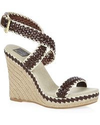 Tory Burch Paloma Woven Leather Wedges - Lyst