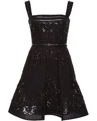 Elie Saab Embroidered Silk Georgette Short Dress - Lyst