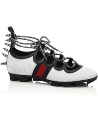 Gucci | Titan Spiked Glitter Web Sneakers | Lyst