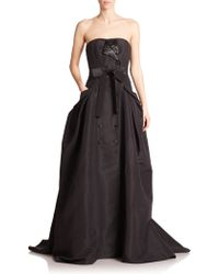 Carolina Herrera Embellished Silk Faille Trench Gown black - Lyst