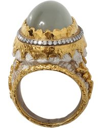 Victor Velyan - Green Moonstone And White Patina Ring - Lyst