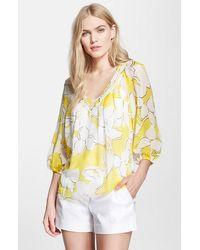Diane von Furstenberg 'Davi' Floral Print Silk Top - Lyst