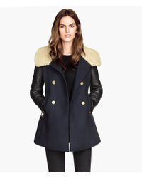 H&M Coat with A Pile Collar - Lyst