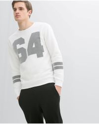 Zara White Mesh Sweatshirt - Lyst