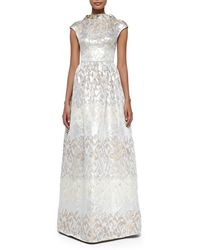 Badgley Mischka Collection Beaded-Collar Jacquard Evening Gown - Lyst