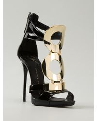 Giuseppe Zanotti Gold Detail Strappy Sandals - Lyst