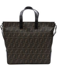 Fendi Brown Zucca Coated Canvas Large Convertible Tote Bag - Lyst