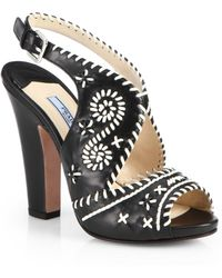 Prada Embroidered Leather Slingback Sandals - Lyst