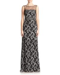 Badgley Mischka Beaded Boatneck Gown - Lyst