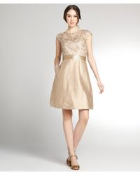 Kay Unger Gold Lattice Cap Sleeve Dress - Lyst