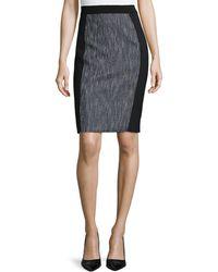 Elie Tahari Kim Tweed-Panel Pencil Skirt - Lyst