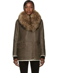 Army by Yves Salomon Brown Shearling And Fur Coat - Lyst