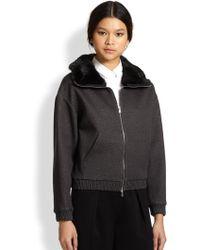 3.1 Phillip Lim Rabbit Fur-trimmed Knit Bomber Jacket - Lyst