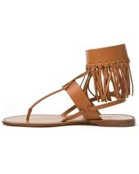 Valentino Fringed Thong Sandals - Lyst
