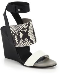 Vince Krya Elasticized Snake Printed-Cuff Leather Sandals - Lyst
