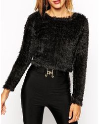 Asos Cropped Jumper In Fluffy Fabric - Lyst