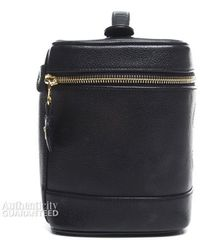 Chanel Pre-Owned Black Cavair Vertical Cosmetic Case - Lyst