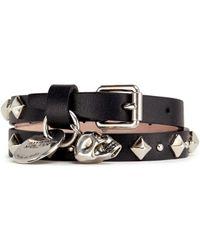Alexander McQueen | Skull Stud Double Wrap Leather Bracelet | Lyst